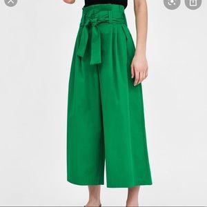 Zara Wide Leg Culottes Olive Green Trousers XL